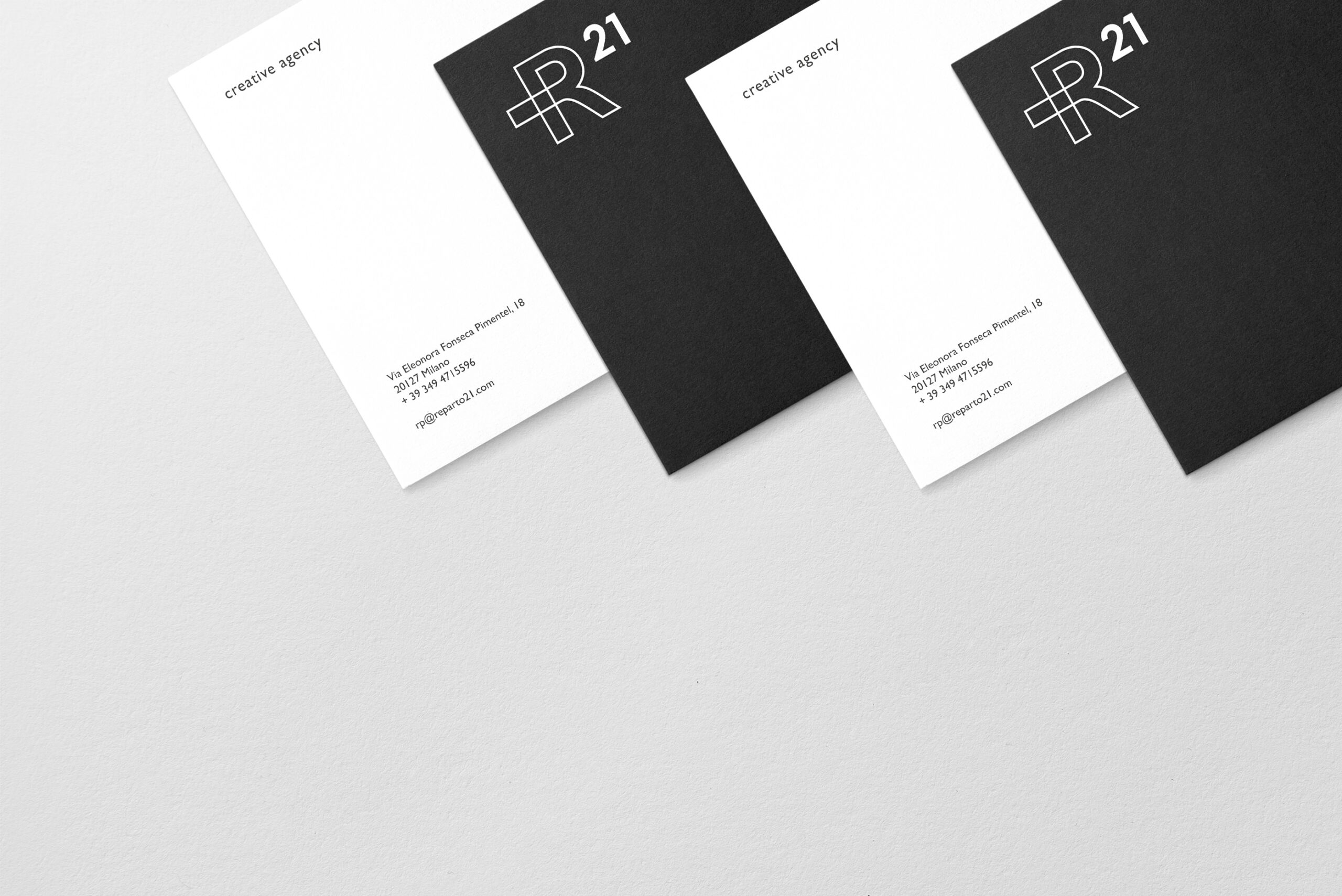 R21 brand identity design graphic drogheria studio cards