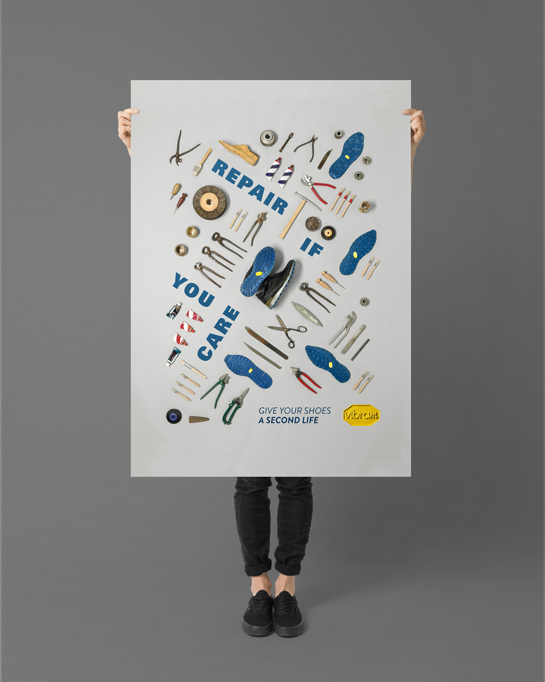 vibram adv repair if you care advertising poster shoes fashion tools creative drogheria studio graphic design studio campaign